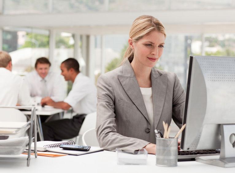 Businesswoman at her desk.